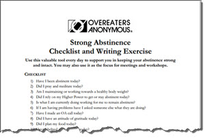 OA Strong Abstinence Checklist provides a tool for recovery